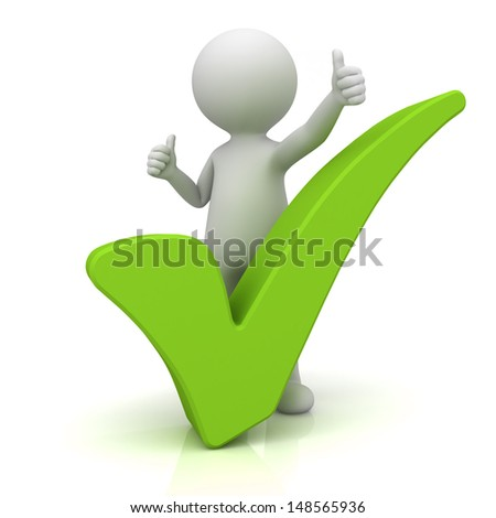 3d man showing thumbs up with green check mark over white background - stock photo