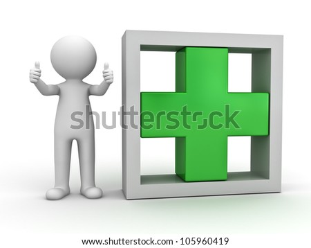 3d man showing thumbs up with green plus sign in box on white background