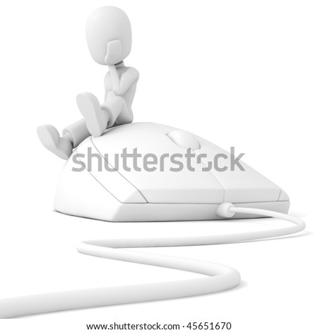 3d man siting on a computer mouse