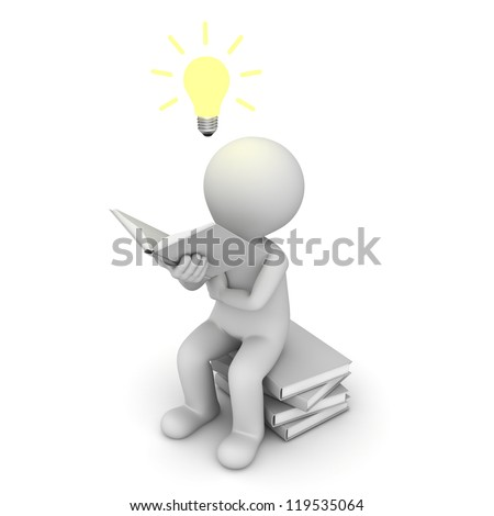 3d man sitting and reading a book with idea bulb over white background