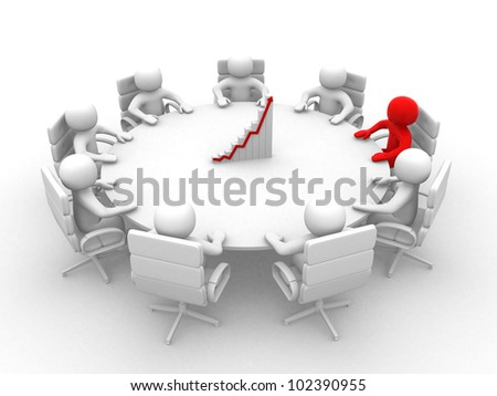 3D man sitting at a round table and having business meeting - This is a 3d render illustration