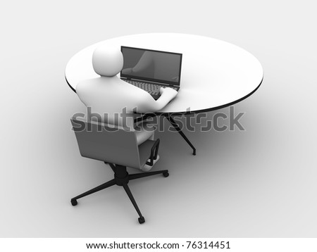3d man sitting at the table and working on a laptop computer stock