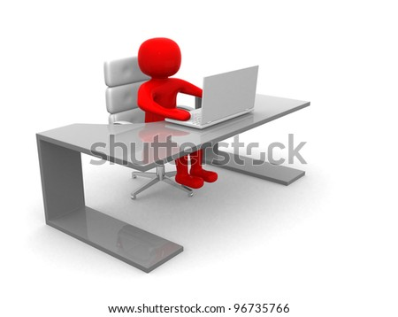 3d man sitting at the table and working on a laptop computer 3d