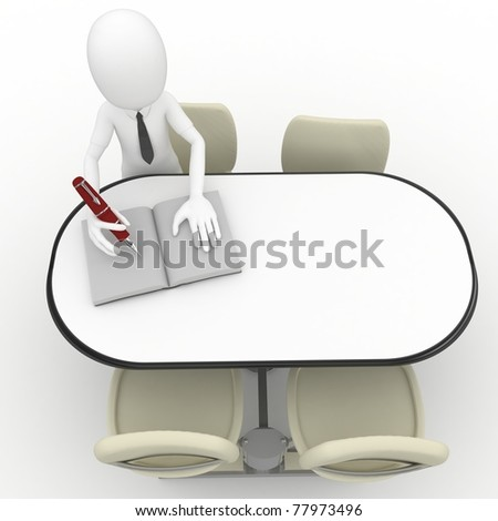 3d man sitting at the table and writing isolated on white - stock photo