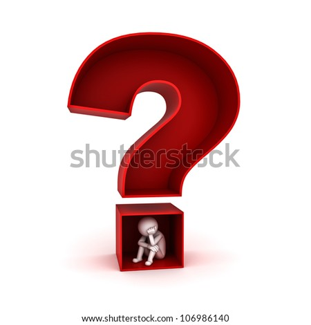 3d man sitting in red question mark on white background