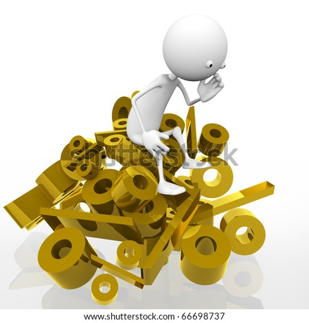 3d man sitting on a mountain of gold per cent, against a white background.