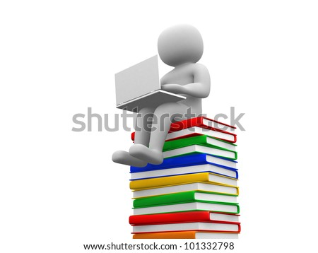 3d man sitting on a pile of books working at his lapop - 3d render