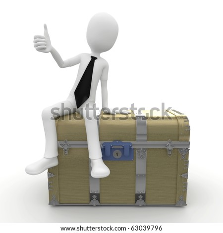 3d man sitting on a treasure chest isolated on white