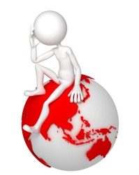 3d man sitting on Earth globe in a thoughtful pose. Asian and Australian side. Isolated white background