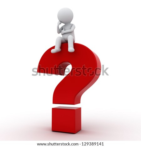 3d man sitting on red question mark over white background