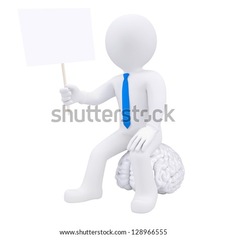 3d man sitting on the brain and holding a plate. Isolated render on a white background