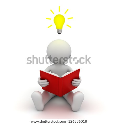 3d man sitting on the floor and reading a book with idea bulb above his head over white background