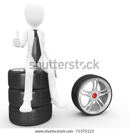 3d man sitting on tires isolated on white - stock photo