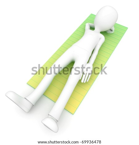 3d man sleeping on a mat isolated on white