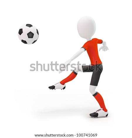 3d man soccer player with ball on white background