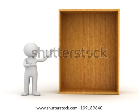 3d man standing and presenting blank wood shelf or box over white background