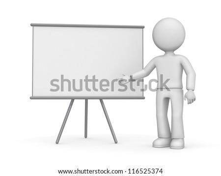3d man standing near a blank board
