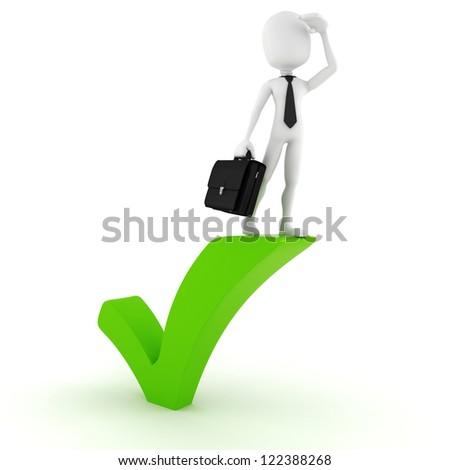 3d man standing near a check ok symbol