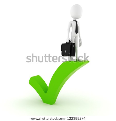 3d man standing near a check ok symbol - stock photo