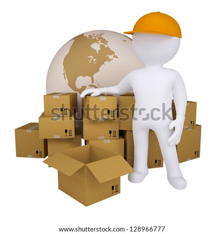 3d man standing near the boxes. Isolated render on a white background