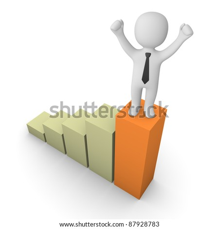 3d man standing on the graph