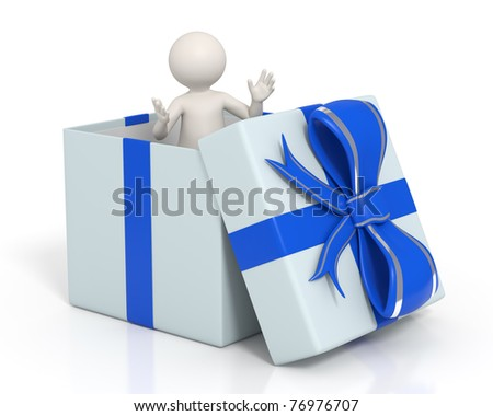3d man standing with open arms in a blue gift box - Isolated