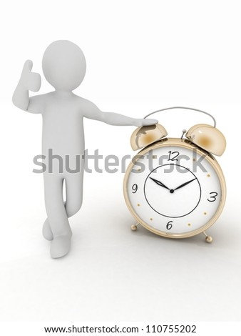 3d man stands next to the clock. Image on white background. - stock photo