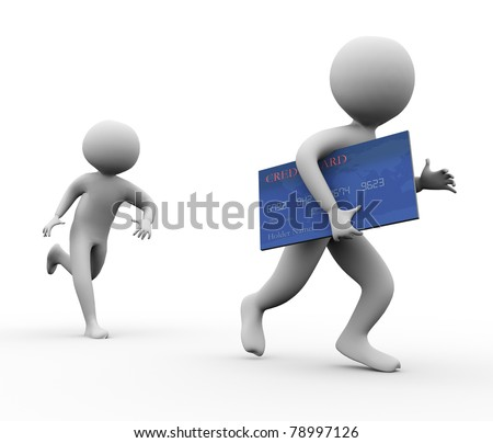 3d man stealing credit card. Concept of credit card fraud