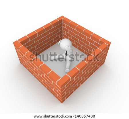 3d man surrounded by the brick wall. 3d render.