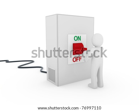 3d man switch red on off start stop