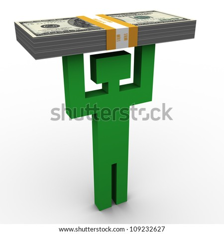 3d man symbol holding dollar packet