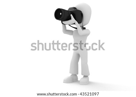 3d man tacking a picture with a  dslr camera