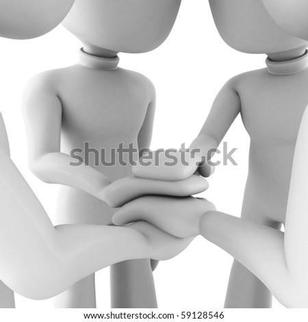 3d man teamwork, isolated on white