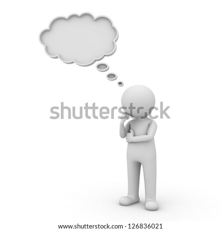 3d man thinking with thought bubble above his head over white background