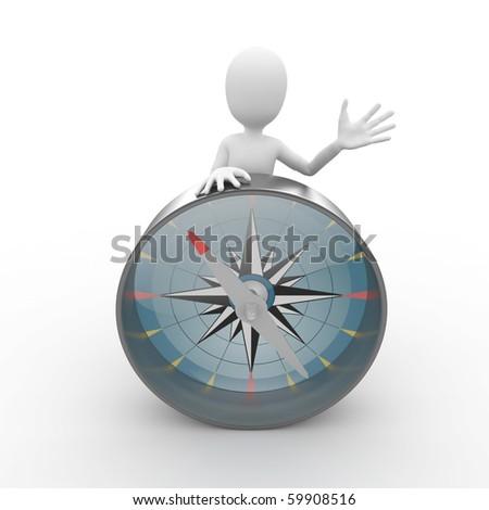 3d man traveler tourist with compass