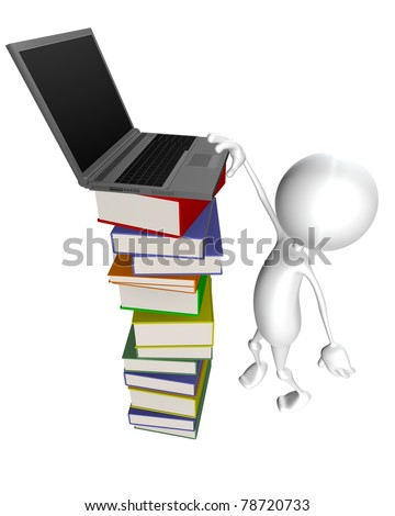 3d man tries to reach out to loptop which stands on the books