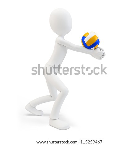 3d man volley player with volleyball on white background