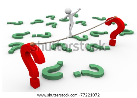 3d man walking on rope with question marks in the background