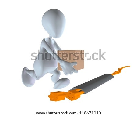3d Man Walking Over A Protected Extension Cord Stock Photo