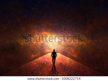 3d. Man walking through the universe Stock photo ©