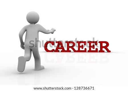 3d man walking to career