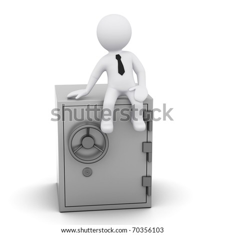 3D man wearing a tie sitting on a  safe - stock photo
