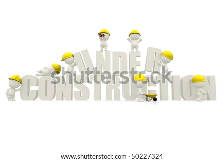 """3D man wearing helmets with """"under construction"""" sign isolated over white"""