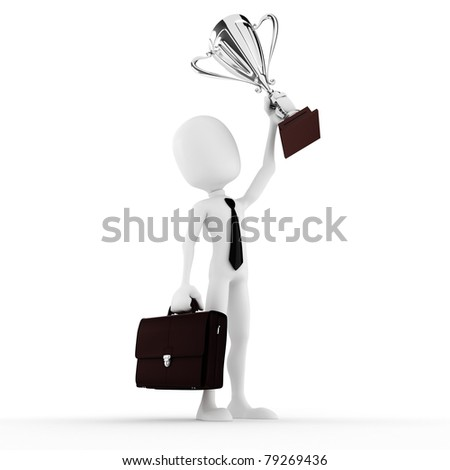 3d man winner holding a big shiny trophy - stock photo