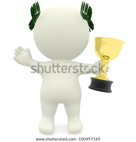 3D man winning a trophy - isolated over a white background