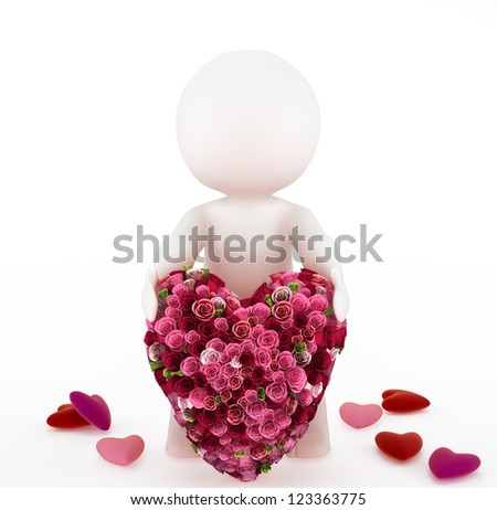 3d man with a big heart made of a bouquet of roses. Isolated on white background