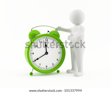 3D man with a giant green alarm clock