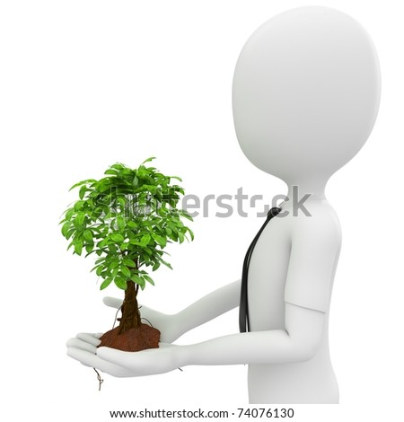 3d man with a growing tree isolated on white