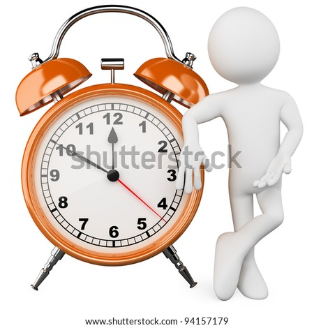 3D man with a huge alarm clock. Rendered at high resolution on a white background with diffuse shadows.