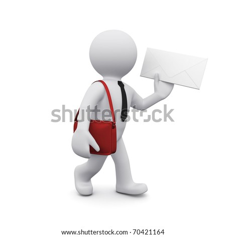 3D man with an envelope delivering mail